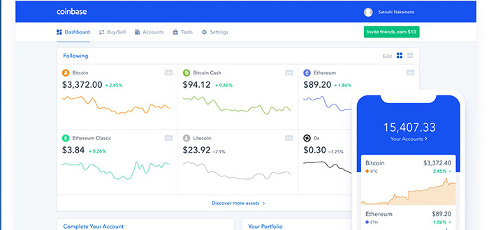 coinbase dashboard